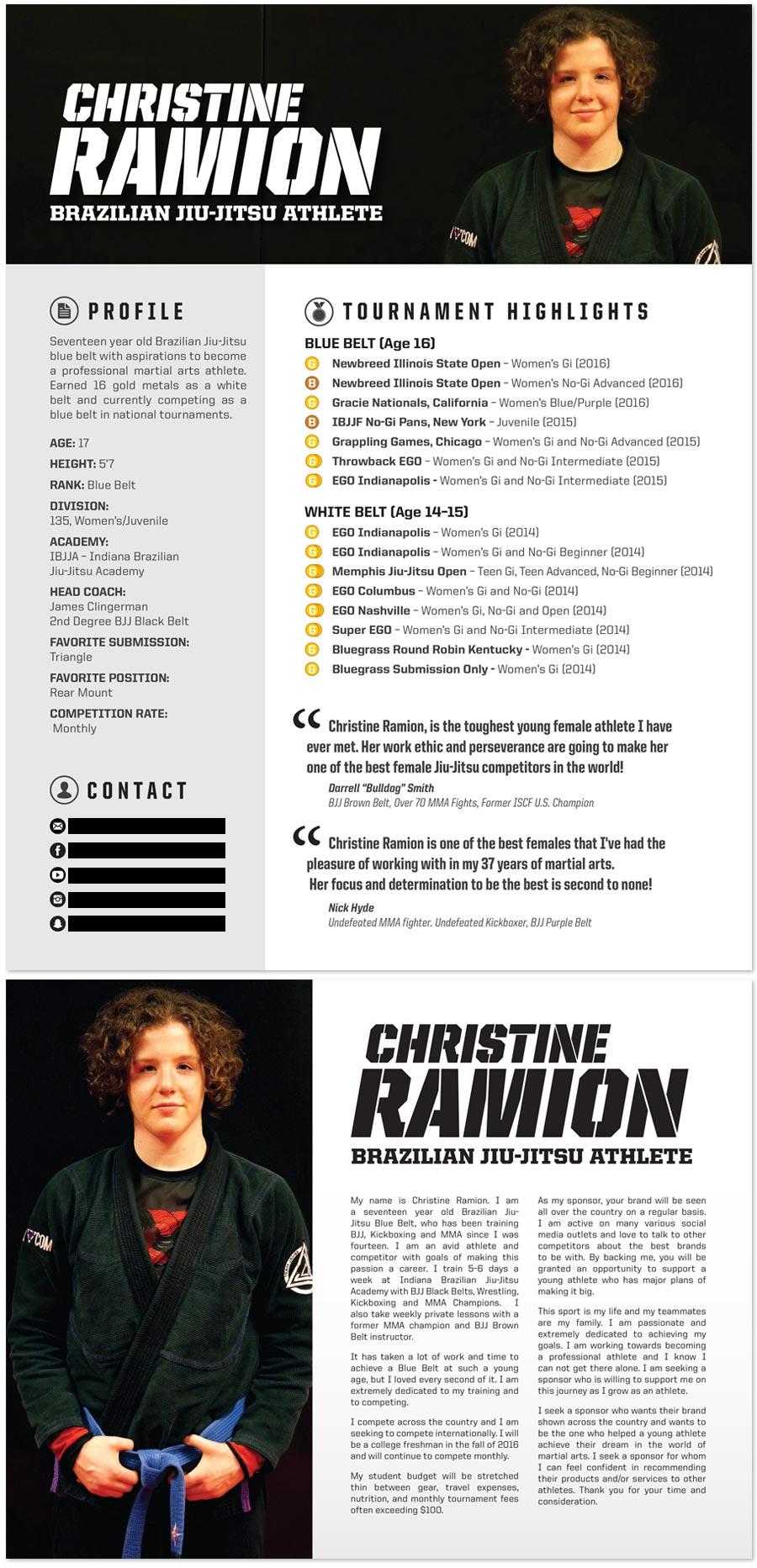 Brazilian Jiu-Jitsu Athlete Sponsorship Resume Graphic Design