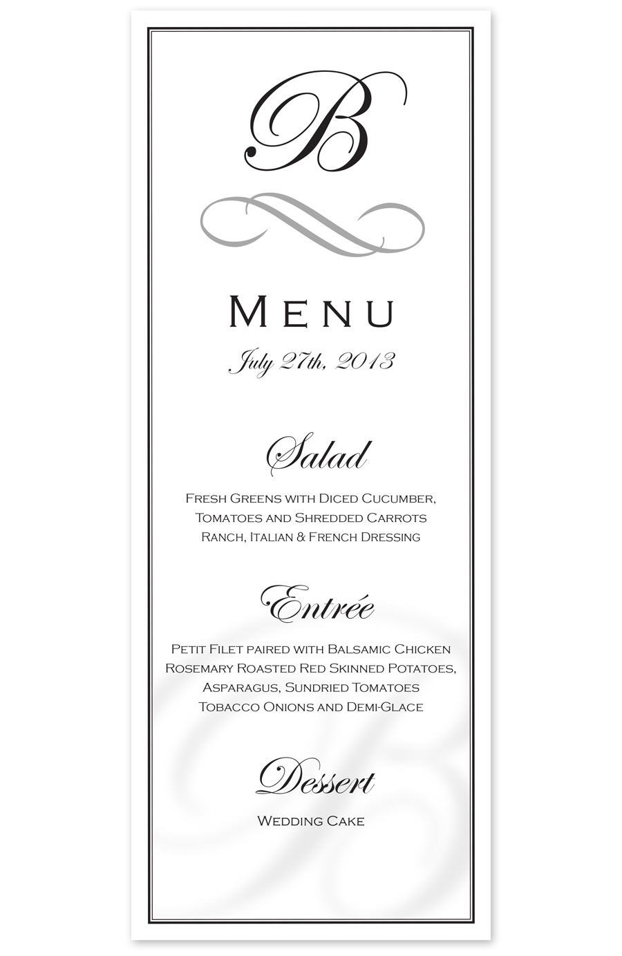 Ryan Sellick Graphic Design Wedding Dinner Menu 2013