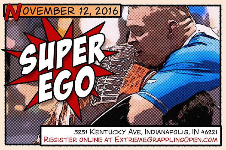Super EGO Extreme Grappling Open postcard design by Ryan Sellick