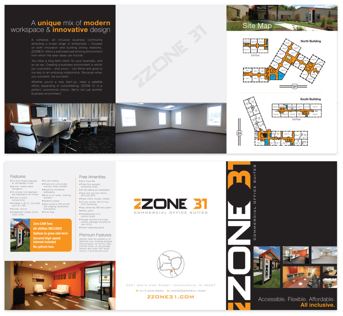 Zone 31 tri-fold folder, graphic design by Ryan Sellick