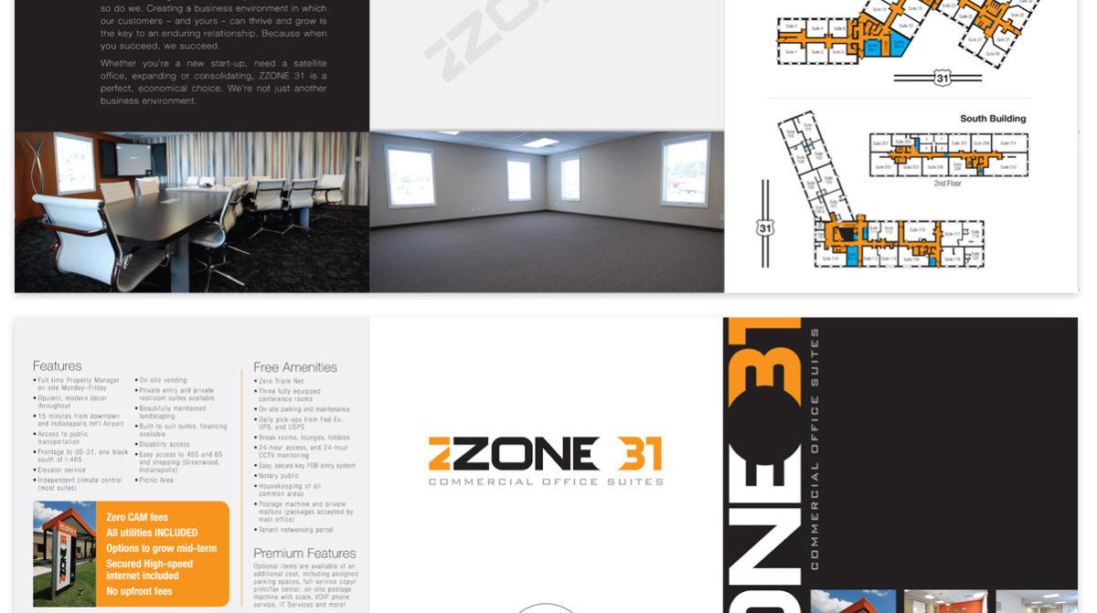 Zone 31 tri-fold folder, graphic design by Ryan Sellick