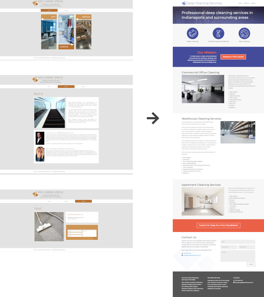 Image showing the Deep Cleaning Services website before and after redesign