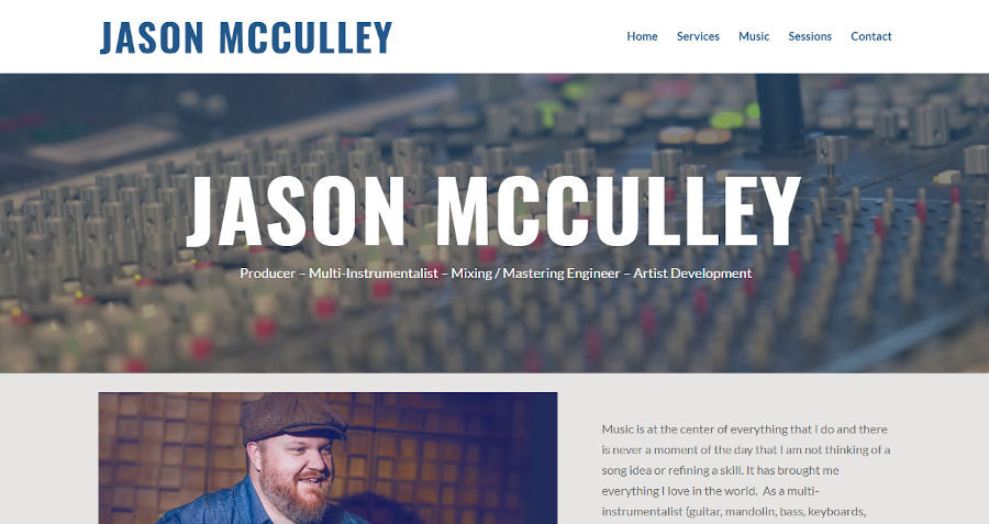 Screen capture of Jason McCulley's website