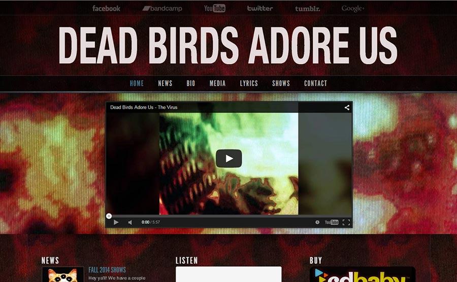 Dead Birds Adore Us Wordpress Website Design by Ryan Sellick