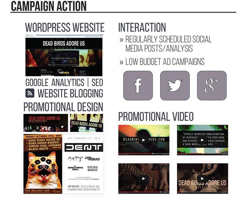 Campaign action: I created the wordpress website Deadbirdsadoreus.com loaded with Google Analytics and optimized for search engines. I created promotional designs including posters and social media posts. I regularly scheduled social media posts and analyzed the results, and ran low budget social media ad campaigns. I also created 4 promotional videos to distribute on social media.