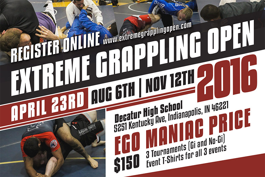 Extreme Grappling Open Brazilian Jiu-Jitsu Tournament Flyer Postcard Design Graphic Design by Ryan Sellick