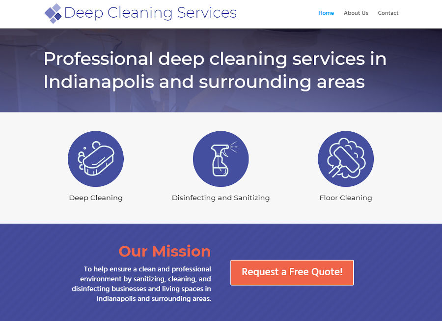 Screen Capture image of the Deep Cleaning Services website