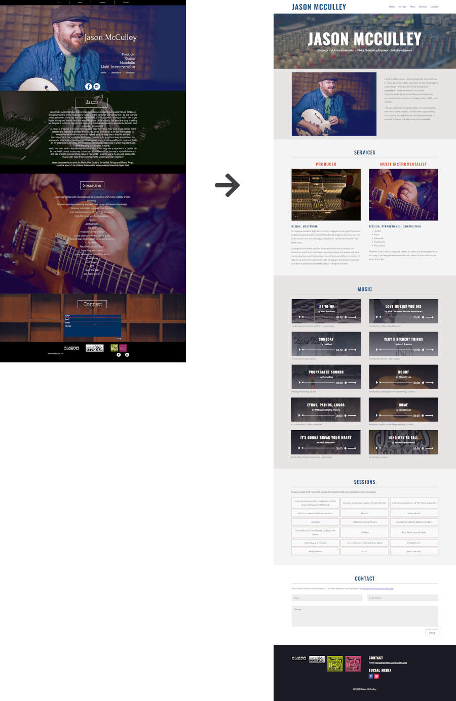 Image showing the Jason McCulley Website before and after redesign